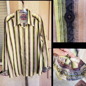 2XL men ROBERT GRAHAM stripe paisley cuff shirt